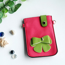 [Happy Bowknot] Colorful  Leatherette Mobile Phone Pouch - $8.99
