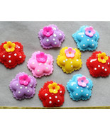 set of 20 pcs  Resin polka dots Flower decoden hair pin flat backs Caboc... - $3.95