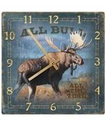 "Wild Wings Bull Moose Clock 10"" Square Lodge Decor Artist Jim Kasper - $31.67"