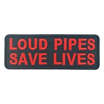 Loud Pipes Save Lives Biker Motorcycle Embroidered Iron On Patch Aufnäher - $2.79