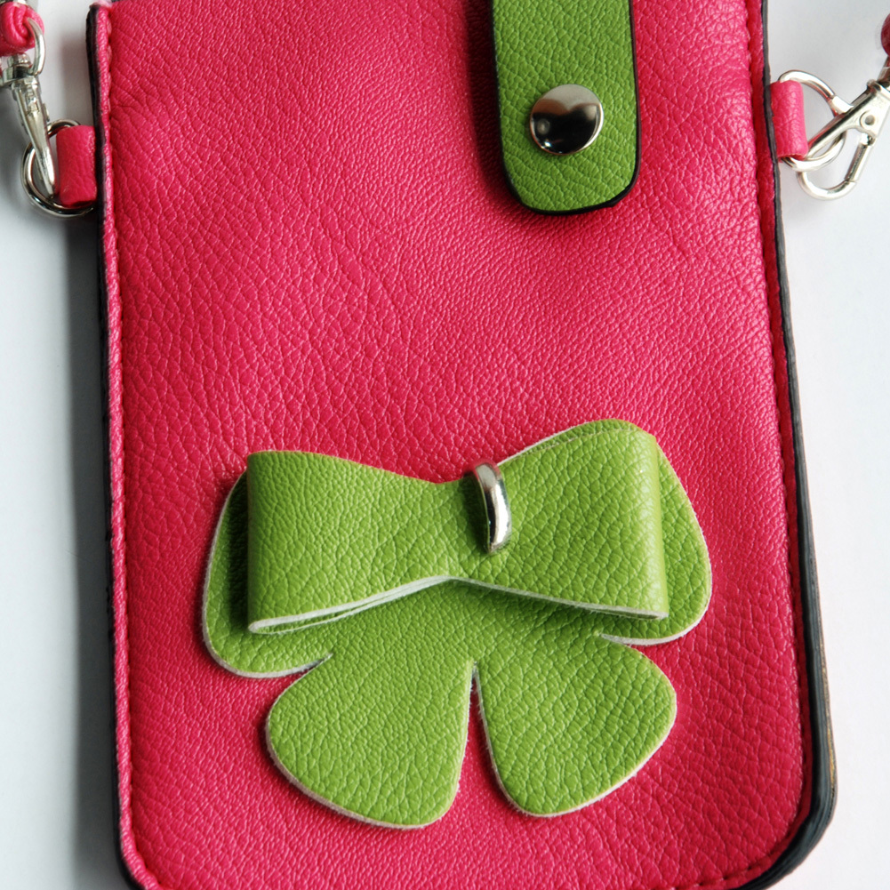 [Happy Bowknot] Colorful  Leatherette Mobile Phone Pouch