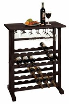 Espresso Brown Wooden Wine Rack Holds 24 Bottles Floor Standing Style Gl... - $89.00