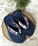 Sperry Top Sider Plaid Flip Flop Sandals Navy Blue Red White NEW 5 5.5 W... - $20.60