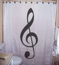 SHOWER CURTAIN music Treble Clef notes name staff pitch - $65.00
