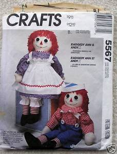 McCall's 5567 Raggedy Ann Andy Doll Clothes 36in 1991
