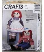 McCall's 5567 Raggedy Ann Andy Doll Clothes 36in 1991 - $29.99