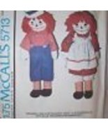 """McCall's 5713 RAGGEDY ANN & ANDY DOLLS CLOTHES 10,15,20,25""""  OOP - $29.99"""