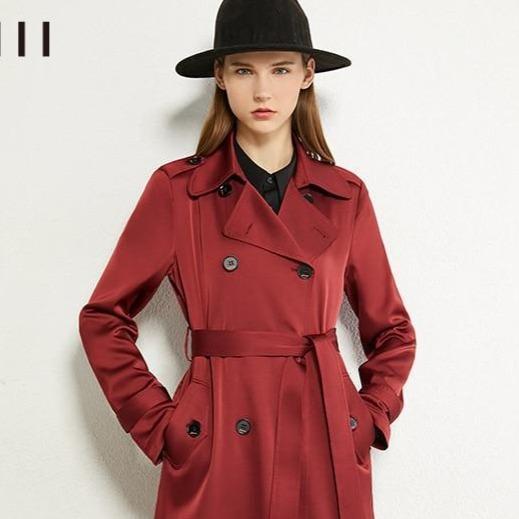 Solid lapel double breasted belt women overcoat female coat 07de9072 fbbc 485e 8d0b 07c245734608