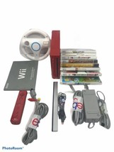 Lot Of 15 Red Wii Game Console With Cords Controller Steering Wheel And ... - $112.20