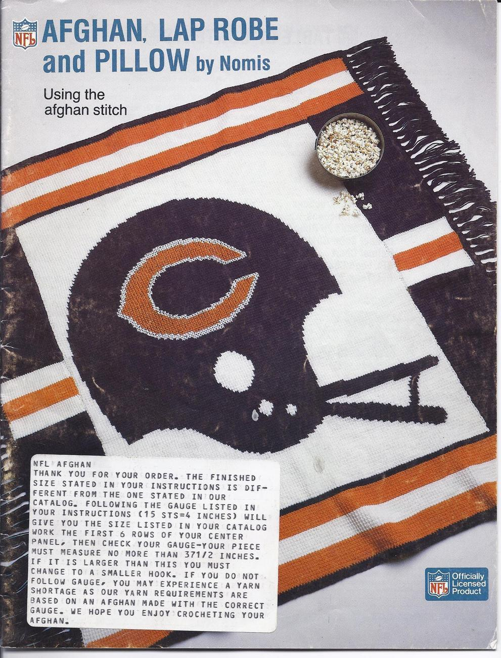 RARE~Nomis~30~NFL Crochet Afghan~Lap Robe & Pillow Patterns Leaflet~HARD TO FIND