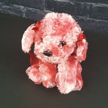 "Russ Berrie Pink Plush Dog Mollie 7"" Stuffed Animal Pink Bows Ribbon  - $22.76"