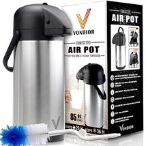 Thermal Coffee Airpot - Beverage Dispenser (85oz.) By Vondior - Stainles... - $40.88