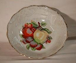 """Vintage Lusterware Bowl w Fruit Pattern Strawberries & Apples 8"""" Unmarked - $17.81"""