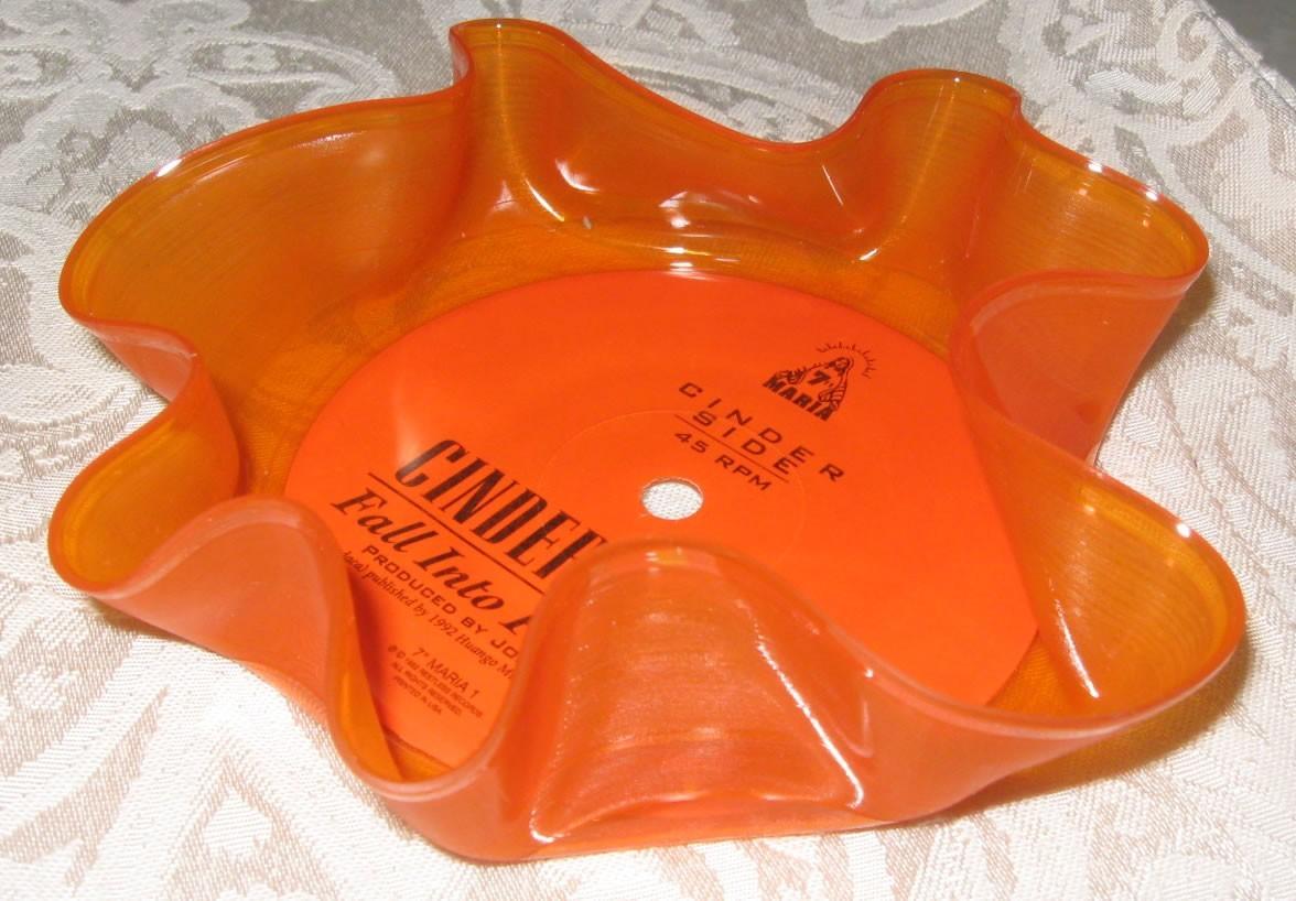 Orange clear record bowl small colored vinyl 7 inch