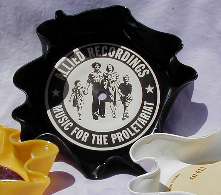 yellow White and Black Bumble Bowl Recycled Vinyl 45 Record Set