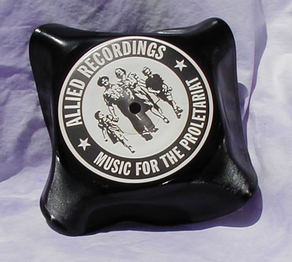 Square Black Vinyl Record Bowl
