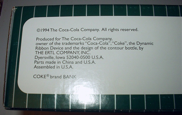 1994 Coca Cola Collectible Die-cast metal bank-Delivery truc