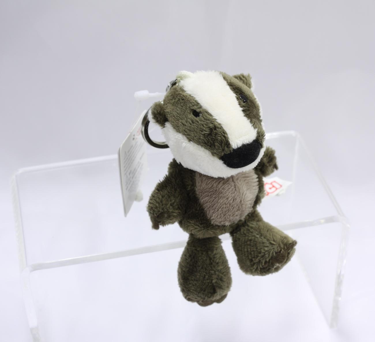 "NICI Badger Grey Animal Plush Stuffed Toy Beanbag Key Chain Keyring Toy 4"""