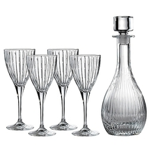 """Royal Doulton® """"Linear"""" 5-Piece Wine Set with Decanter CLEAR CRISTALLIN NEW I B  - $364.70"""