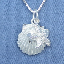 Sterling Silver Sea Shell & Starfish Pendant Beach Charm Necklace Italy ... - $79.99