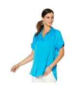 Vince Camuto Oasis Bloom Popover Blouse Top Camp Shirt HAVANA BLUE XS # ... - $24.74