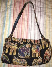 Laurel Burch Purse Cat Tapestry Mini Barrel Shoulder Bag MULTICOLOR - $13.96