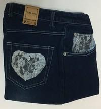 Juke Box Dark Indigo Denim Jeans Sz 11 Blue Lace Hearts NWT image 6