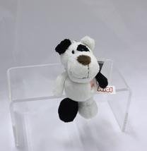 "NICI Dog Black White Animal Plush Stuffed Toy Beanbag Key Chain Keyring 4"" - $10.00"