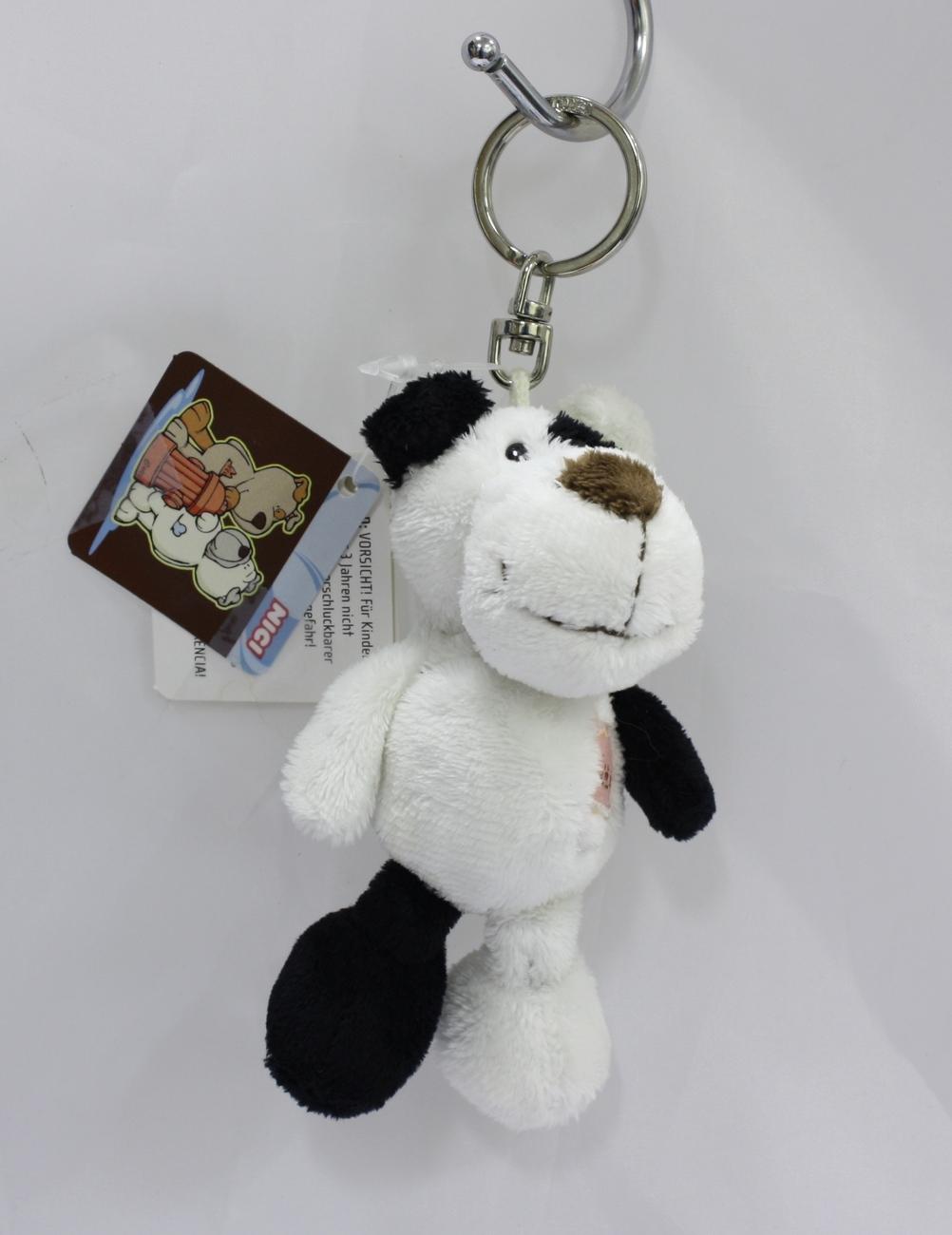 "NICI Dog Black White Animal Plush Stuffed Toy Beanbag Key Chain Keyring 4"""