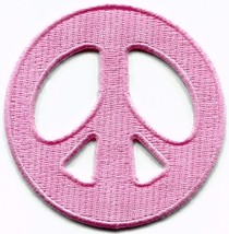 Peace sign pastel pink retro '60s hippie embroidered applique iron-on pa... - £2.24 GBP