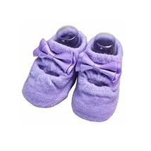 2 Pairs Baby Girls Shoe Socks Anti-Slip Socks, Purple [B]