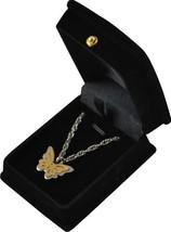"Two-Tone Butterfly Pendant w/20"" chain & black velvet display box - $149.99"