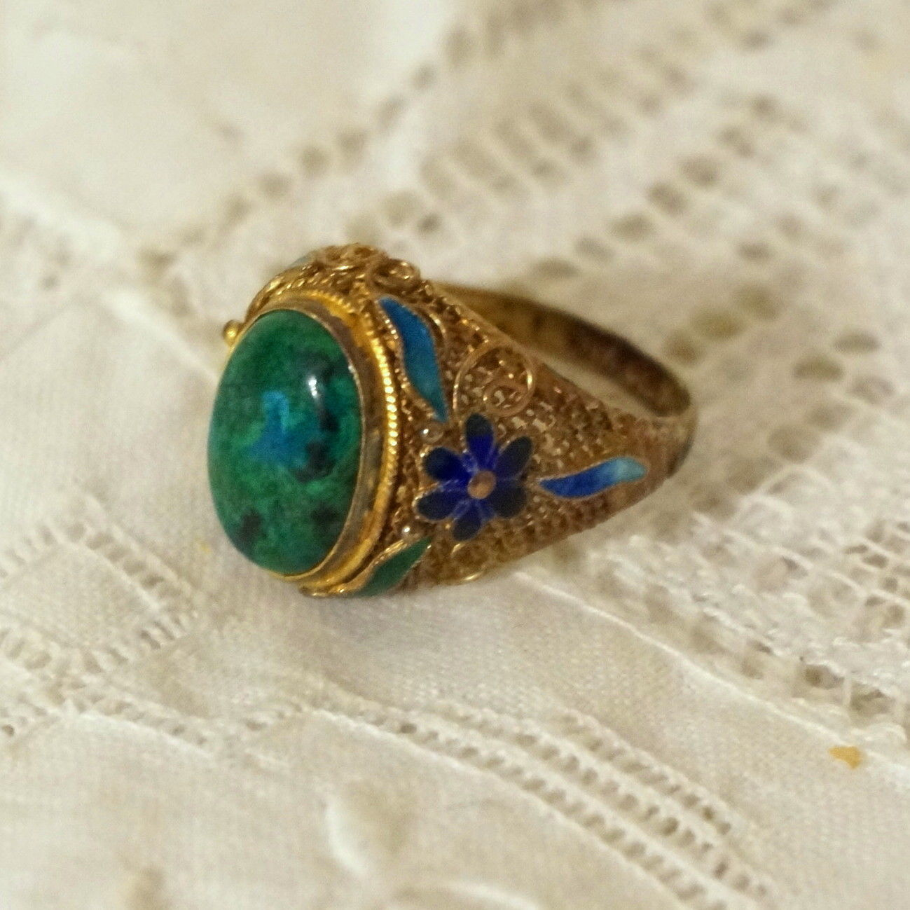 Antique Vintage Chinese Enamel Gilt Silver Filigree Chrysocolla Cabochon Ring 8