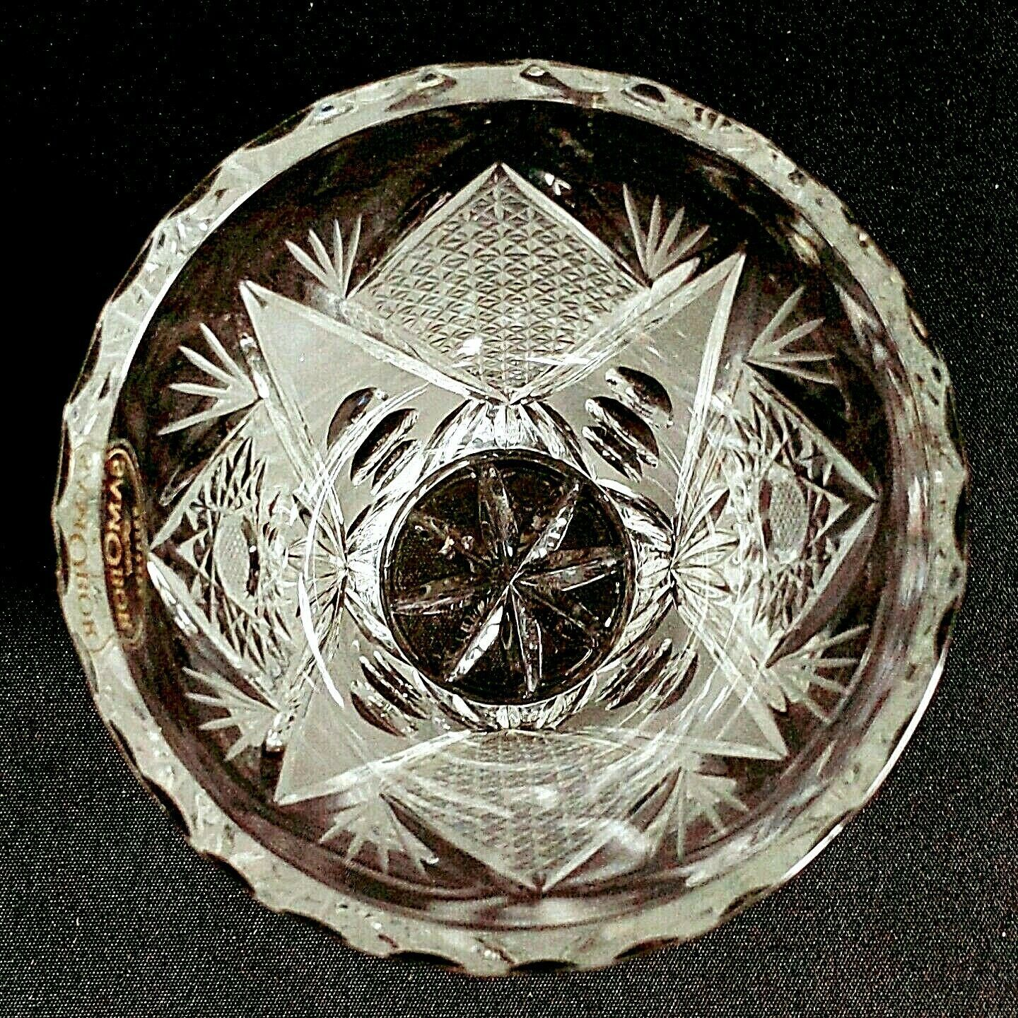 "1 (One) SAMOBOR KRISTAL Cut and Etched Crystal Vase 5"" Made in Croatia- Signed image 5"