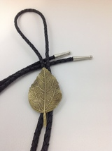 Western Bolo Tie Bootlace Cowboy Tie Leaf Style  - $21.50