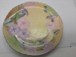 """Haviland Limoges Hand Painted dinner plate Petunias on multi color background 8"""" - $25.00"""