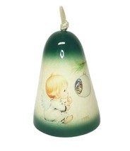 Ceramic Hanging Christmas Bell 1995 with Baby Angel Vintage - $30.38