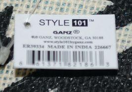 GANZ Brand ER39334 Style 101 Large Burlap Black Cream Purse Teal Handle image 6