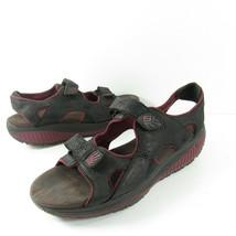Skechers Shape Ups Adjustable Strap Sandals Womens Size 11 Black Maroon ... - $44.99