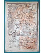 "1905 BAEDEKER MAP - Belgium Louvain Town City Canter Plan  4"" x 6"" (10 x... - $6.75"