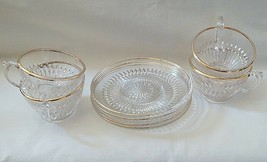 Jeannette Glass Anniversary Gold Pattern Cup & Saucer Set of 4 - $19.75