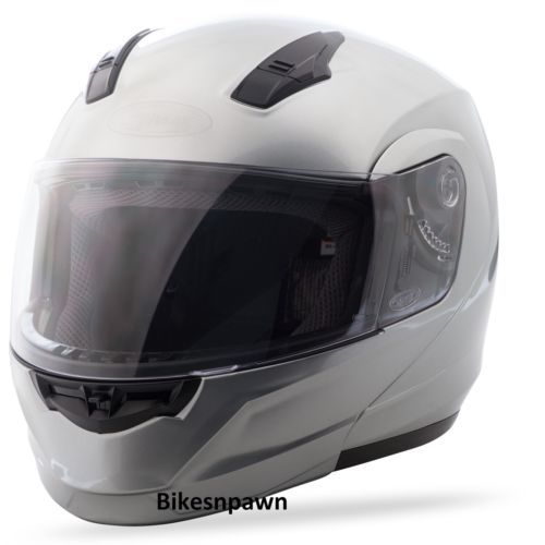 L GMax MD04 Metallic Silver Modular Street Motorcycle Helmet DOT