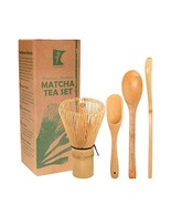 BambooMN Matcha Whisk Set - Golden Chasen Tea Whisk + Chashaku Hooked Ba... - $11.34