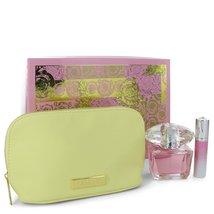 Versace Bright Crystal Perfume 3.0 Oz Eau De Toilette Spray 3 Pcs Set image 2