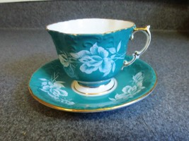 Aynsley Bone China Tea Cup and Saucer Turquoise with Roses  - $37.39