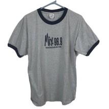 Mix 96.9 KMXP FM Radio Gray Ringer LARGE T-Shirt VTG Best Mix of 80s 90s... - $19.79