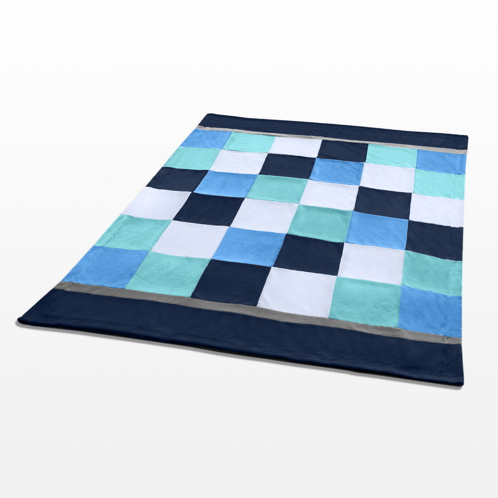 Onitiva - [Plaids - Coral Sea] Patchwork Throw Blanket image 3