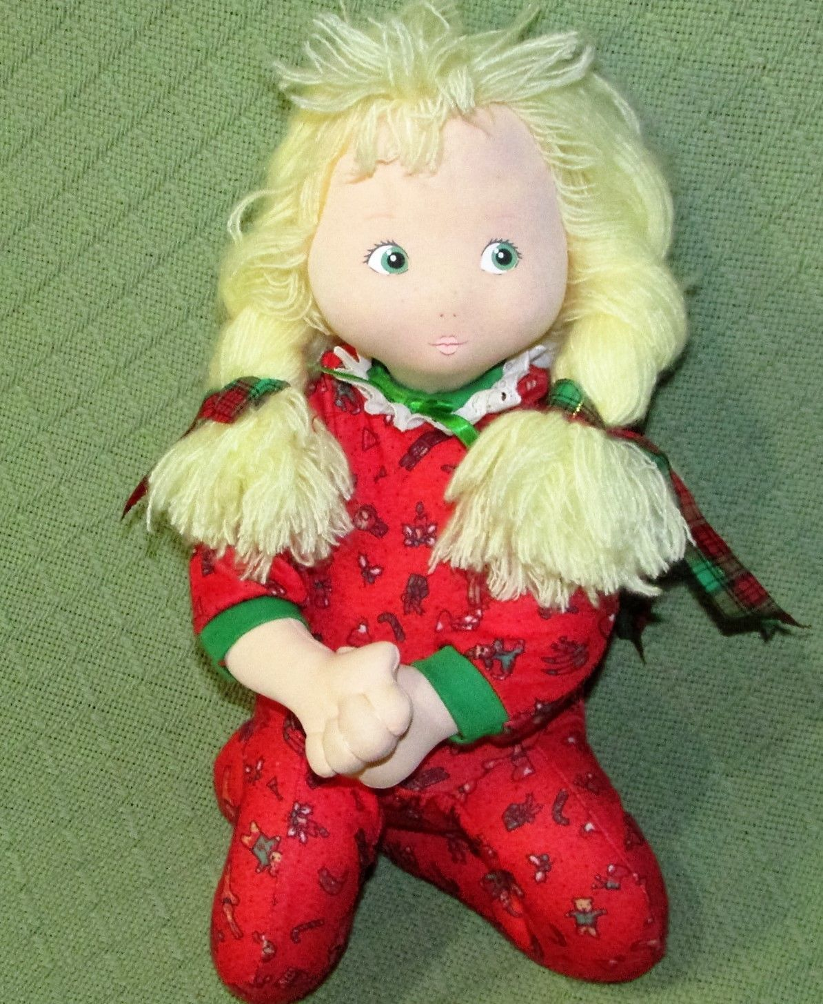 Vintage Cloth Doll Applause CHRISTINE Marge Toner CHRISTMAS Pajamas Blonde