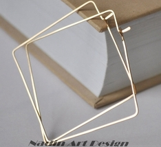 14k Gold Filled Square Hoop Earrings. Geometric Jewelry - $32.00