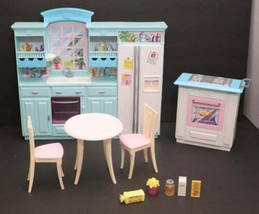 Barbie Living in Style Kitchen Fridge Sink Island Oven Table Chair Acces... - $58.36